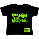 T-shirt milk mom and rock'n roll noir et vert,