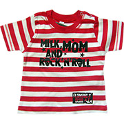 T-shirt Milk, Mom & Rock n'roll rayures rouges.
