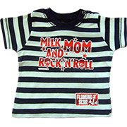 T-shirt Milk, Mom & Rock n'roll rayures bleues.